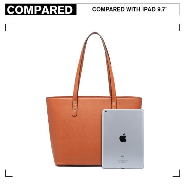LG6931 - Miss Lulu 4 Piece Handbag Set - Brown