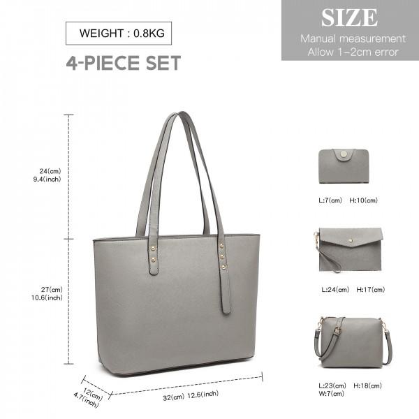 LG6931 - Miss Lulu 4 Piece Handbag Set - Grey
