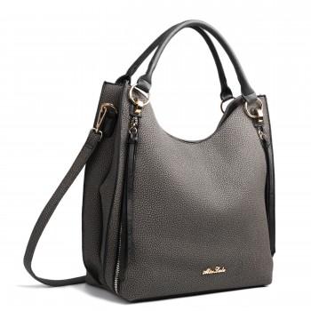 LH1618 - Miss Lulu Textured Leather Look Hobo Shoulder Handbag Black