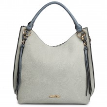 LH1618 - Miss Lulu Textured Leather Look Hobo Shoulder Handbag Blue