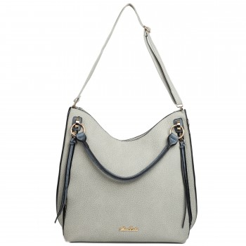 LH1618 - Miss Lulu Textured Leather Look Hobo Shoulder Handbag Blue