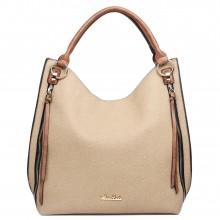 LH1618 - Miss Lulu Textured Leather Look Hobo Shoulder Handbag Brown