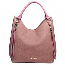 LH1618 - Miss Lulu Textured Leather Look Hobo Shoulder Handbag Purple