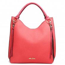 LH1618 - Miss Lulu Textured Leather Look Hobo Shoulder Handbag Red