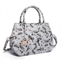 LH1633-16J - Miss Lulu Structured Matte Oilcloth Shoulder Bag Bird Print Grey