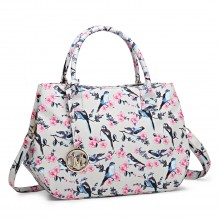 LH1633-16J - Miss Lulu Structured Matte Oilcloth Shoulder Bag Bird Print Beige
