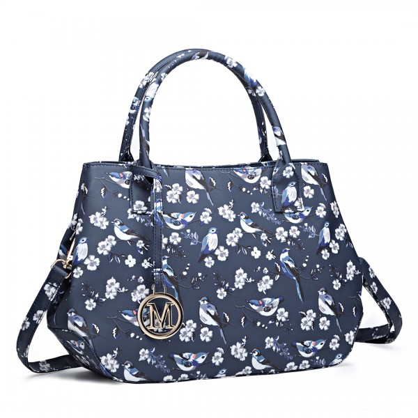 LH1633-16J - Miss Lulu Structured Matte Oilcloth Shoulder Bag Bird Print Navy
