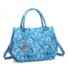 LH1633-16J - Miss Lulu Structured Matte Oilcloth Shoulder Bag Bird Print Blue