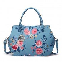 LH1633-17F - Miss Lulu Structured Matte Oilcloth Shoulder Bag Flower Print Blue