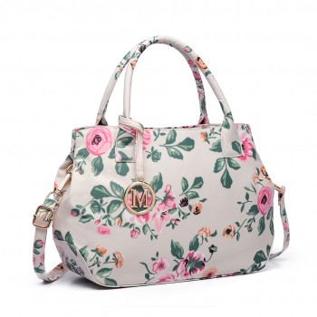 LH1633-17F - Miss Lulu Structured Matte Oilcloth Shoulder Bag Flower Print Beige