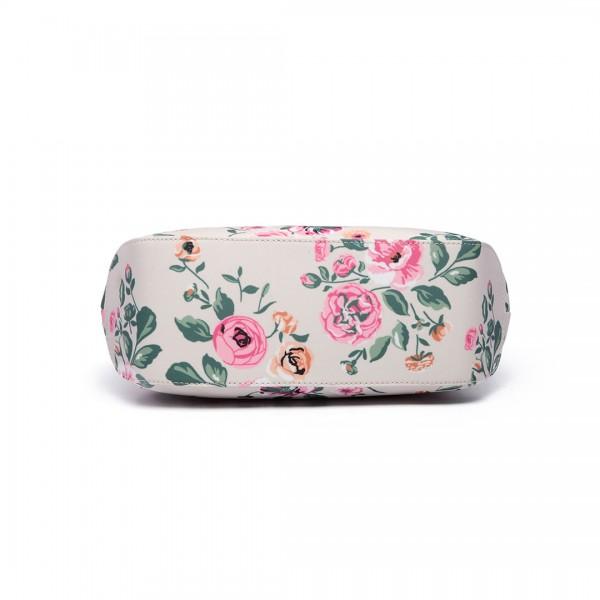 LH1633-17F - Miss Lulu Structured Matte Oilcloth Shoulder Bag Flower Print Beige