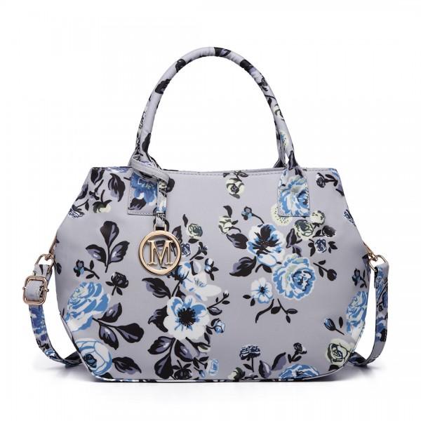 LH1633-17F - Miss Lulu Structured Matte Oilcloth Shoulder Bag Flower Print Grey