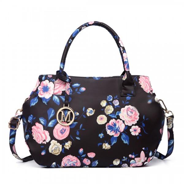 LH1633-17F - Miss Lulu Structured Matte Oilcloth Shoulder Bag Flower Print Midnight Blue