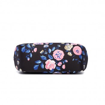 LH1633-17F - Miss Lulu Structured Matte Oilcloth Shoulder Bag Flower Print Midnight Blue