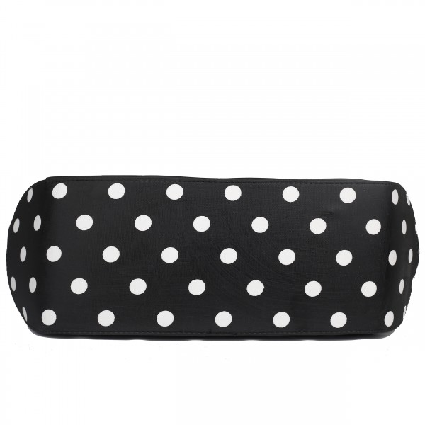 LH1633D2 - Miss Lulu Structured Matte Oilcloth Shoulder Bag Polka Dot Black