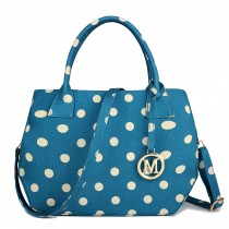 LH1633D2 - Miss Lulu Structured Matte Oilcloth Shoulder Bag Polka Dot Blue