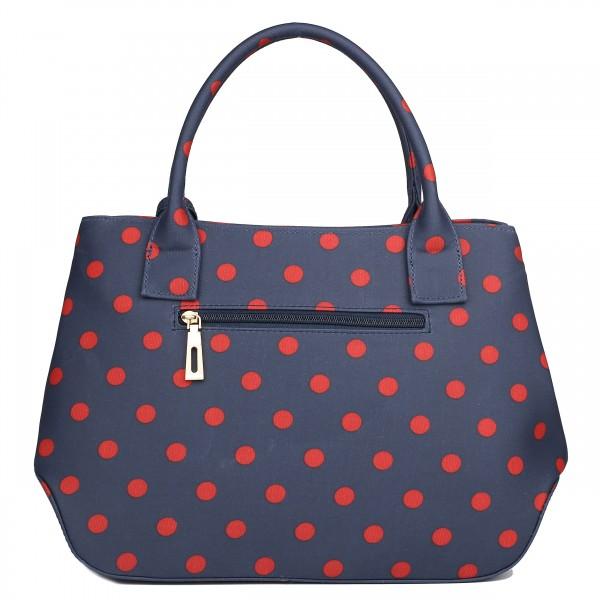 LH1633D2 - Miss Lulu Structured Matte Oilcloth Shoulder Bag Polka Dot Navy