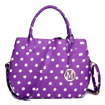 LH1633D2 - Miss Lulu Structured Matte Oilcloth Shoulder Bag Polka Dot Purple