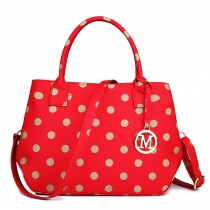 LH1633D2 - Miss Lulu Structured Matte Oilcloth Shoulder Bag Polka Dot Red