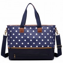 LH1655D2 - Miss Lulu Matte Oilcloth Maternity Baby Changing Bag Polka Dot Blue
