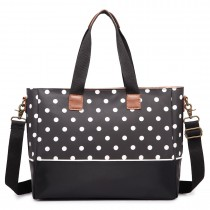 LH1655D2 - Miss Lulu Matte Oilcloth Maternity Baby Changing Bag Polka Dot Black