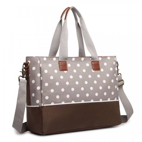 LH1655D2 - Miss Lulu Matte Oilcloth Maternity Baby Changing Bag Polka Dot Grey