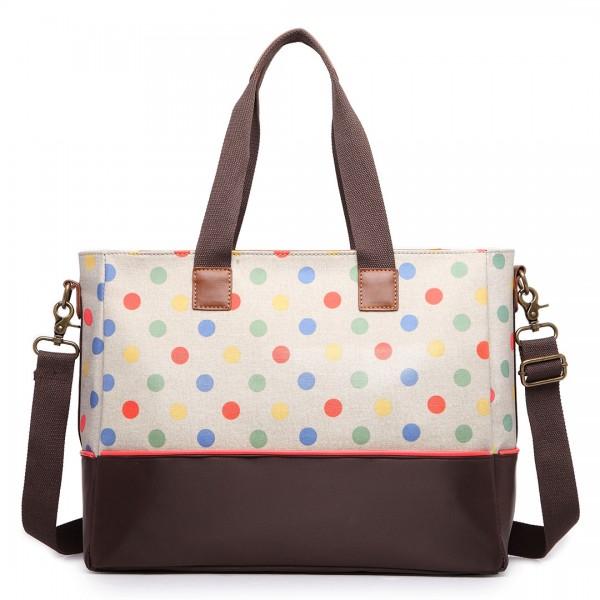LH1655D2 - Miss Lulu Matte Oilcloth Maternity Baby Changing Bag Polka Dot Khaki