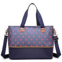 LH1655D2 - Miss Lulu Matte Oilcloth Maternity Baby Changing Bag Polka Dot Navy