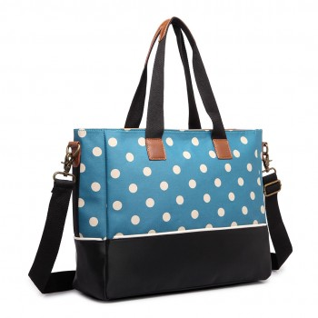 LH1655D2 - Miss Lulu Matte Oilcloth Maternity Baby Changing Bag Polka Dot Teal