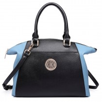 LH1671-Ladies Faux Leather Handbag Celebrity Leisure Tote Shoulder Bag blue& black