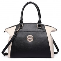 LH1671-Ladies Faux Leather Handbag Celebrity Leisure Tote Shoulder Bag beige & black