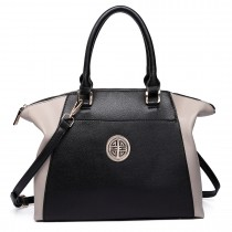 LH1671-Ladies Faux Leather Handbag Celebrity Leisure Tote Shoulder Bag grey& black