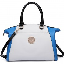 LH1671-Ladies Faux Leather Handbag Celebrity Leisure Tote Shoulder Bag navy & white