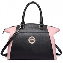 LH1671-Ladies Faux Leather Handbag Celebrity Leisure Tote Shoulder Bag pink & black