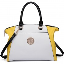 LH1671-Ladies Faux Leather Handbag Celebrity Leisure Tote Shoulder Bag yellow &white