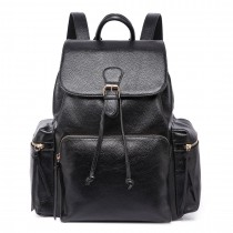 LH1709 - Miss Lulu Vintage Leather Look Large Backpack Black