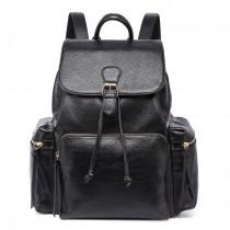 LH1709 - Miss Lulu PU Leather Multi-PocketsLarge Backpack Black