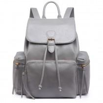 LH1709 - Miss Lulu PU Leather Multi-PocketsLarge Backpack Grey