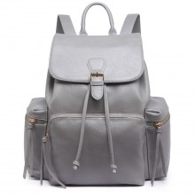 LH1709 - Miss Lulu PU Leather Multi-PocketsLarge Backpack Grey