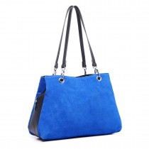 LH1724 - Miss Lulu Suede and Leather Shoulder Bag Blue