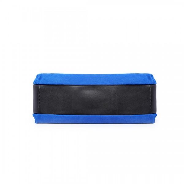 LH1724 - Miss Lulu Suede and Leather Shoulder Bag Blue