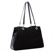 LH1724 - Miss Lulu Suede and Leather Shoulder Bag Black