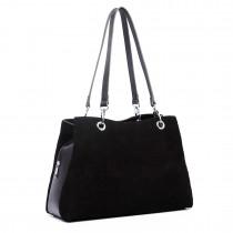LH1724 - Miss Lulu Suede y cuero bolso negro