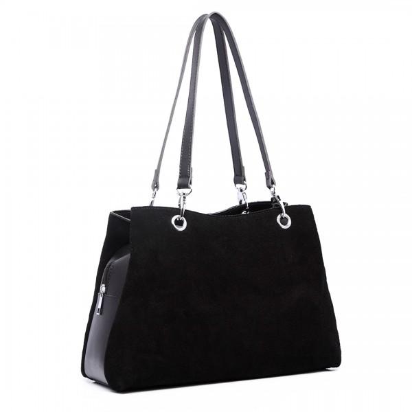 LH1724 - Miss Lulu Suede and Leather Shoulder Bag Black