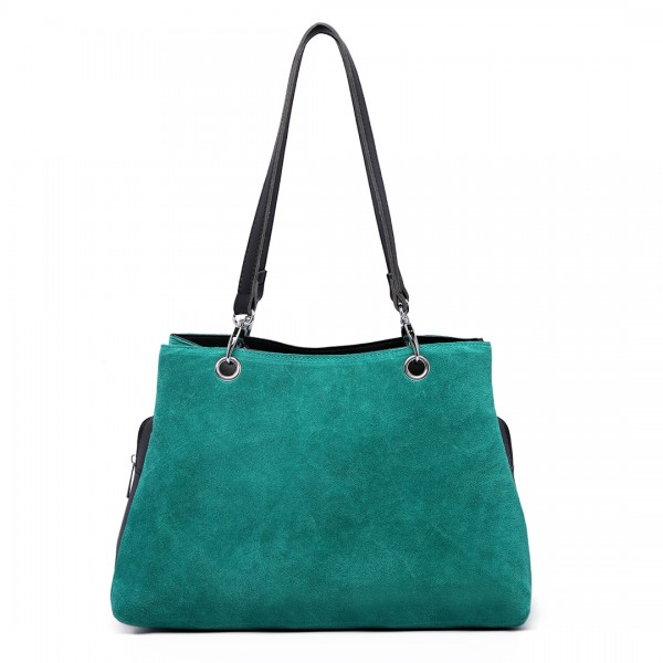 LH1724 - Miss Lulu Suede and Leather Shoulder Bag Green