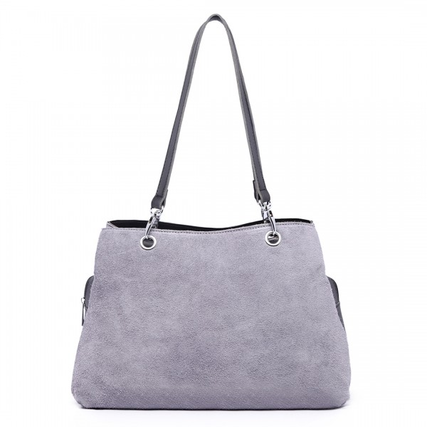 LH1724 - Miss Lulu Suede and Leather Shoulder Bag Grey