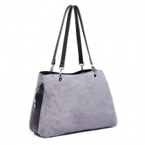 LH1724 - Miss Lulu Bolso de piel de gamuza y cuero gris