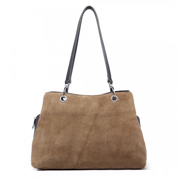 LH1724 - Miss Lulu Suede and Leather Shoulder Bag Khaki