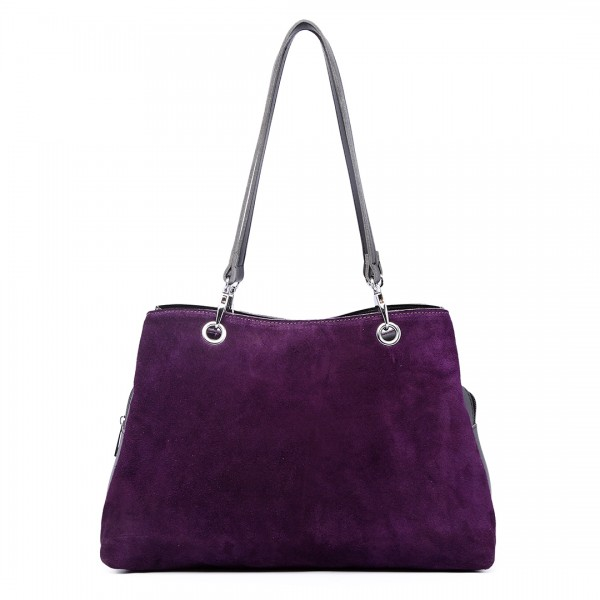 LH1724 - Miss Lulu Suede and Leather Shoulder Bag Purple