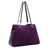 LH1724 - Miss Lulu Suede y cuero bolso de hombro púrpura